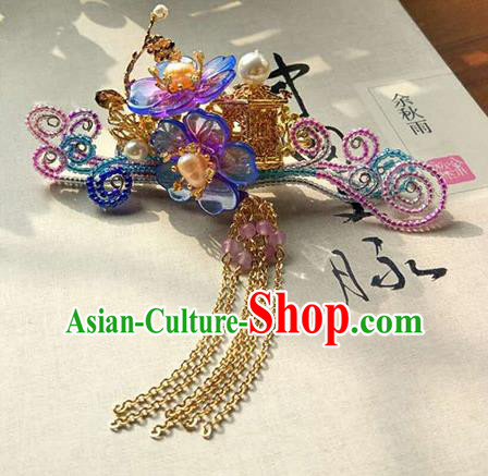 Chinese Handmade Ancient Hair Accessories Classical Hanfu Palace Hair Stick Tassel Hairpins for Women