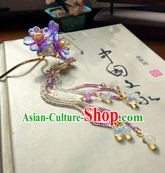 Chinese Handmade Ancient Hair Accessories Classical Hanfu Tassel Step Shake Purple Flowers Hairpins for Women