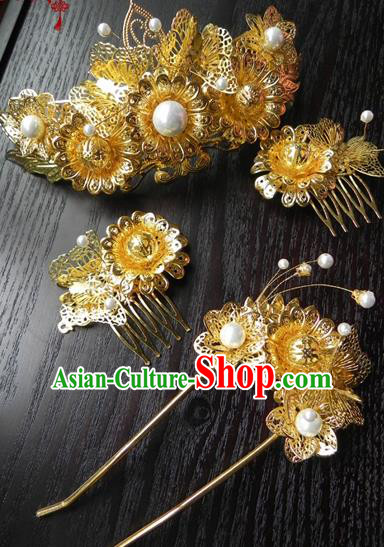 Chinese Handmade Ancient Wedding Hair Accessories Classical Hanfu Golden Hairpins Complete Set for Women