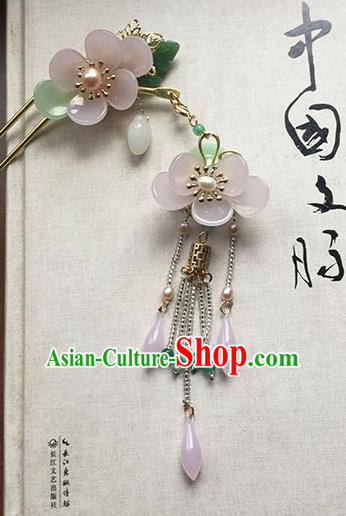 Chinese Handmade Ancient Hairpins Hair Accessories Classical Hanfu Pink Flowers Tassel Step Shake for Women