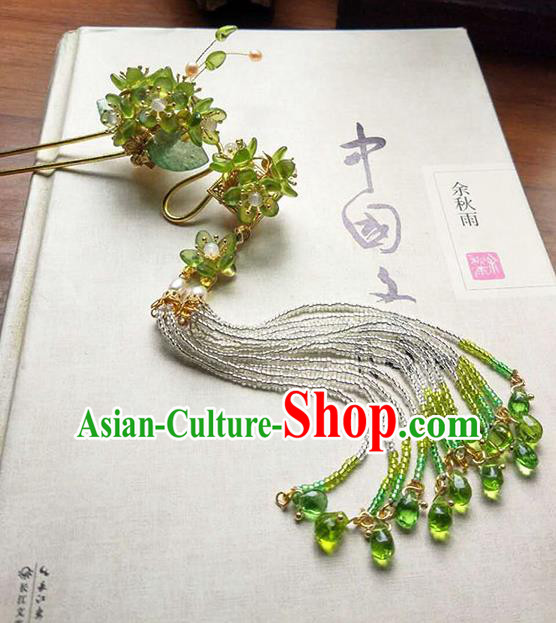 Chinese Handmade Ancient Hairpins Hair Accessories Classical Hanfu Green Flowers Tassel Step Shake for Women