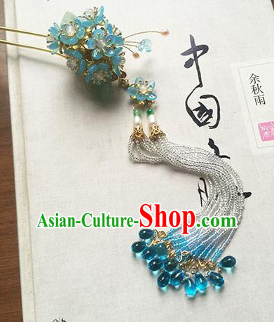 Chinese Handmade Ancient Hairpins Hair Accessories Classical Hanfu Blue Flowers Tassel Step Shake for Women
