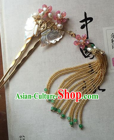 Chinese Handmade Ancient Butterfly Hairpins Hair Accessories Classical Hanfu Tassel Step Shake for Women