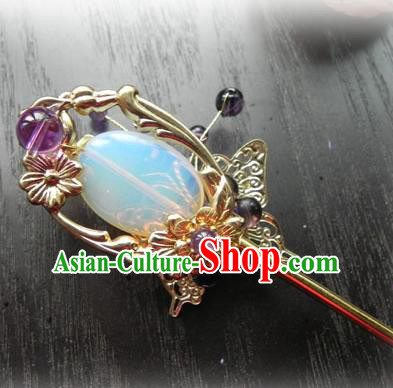 Chinese Handmade Ancient Opal Hairpins Hair Accessories Classical Hanfu Hair Clip for Women