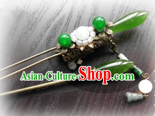 Chinese Handmade Ancient Agate Hairpins Hair Accessories Classical Hanfu Hair Clip for Women