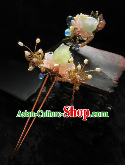 Chinese Handmade Ancient Agate Butterfly Hairpins Hair Accessories Classical Hanfu Hair Clip for Women
