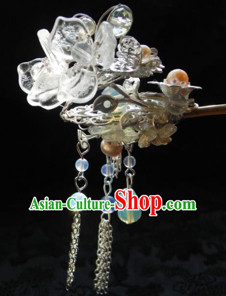 Chinese Handmade Ancient Crystal Flowers Hairpins Step Shake Hair Accessories Classical Hanfu Hair Clip for Women