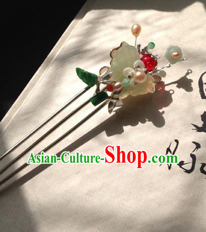 Chinese Handmade Ancient Hair Accessories Jadeite Butterfly Hair Clip Classical Hanfu Hairpins for Women