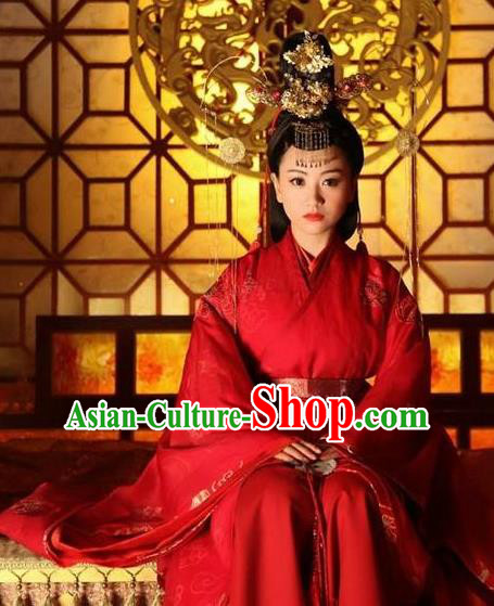 Chinese Ancient Northern and Southern Dynasties Qi Kingdom Empress Xiao Wedding Replica Costume for Women