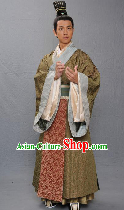 Ancient Chinese Warring States Period Qi Kingdom Official Historian Replica Costume for Men