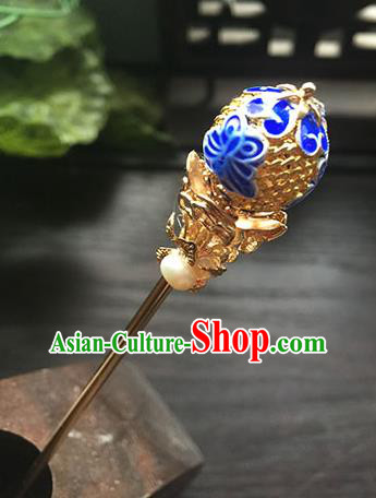 Chinese Ancient Hanfu Handmade Blueing Hairpins Hair Accessories Tassel Hair Clip for Women