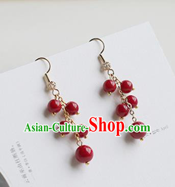 Chinese Handmade Ancient Jewelry Accessories Hanfu Ormosia Tassel Earrings for Women