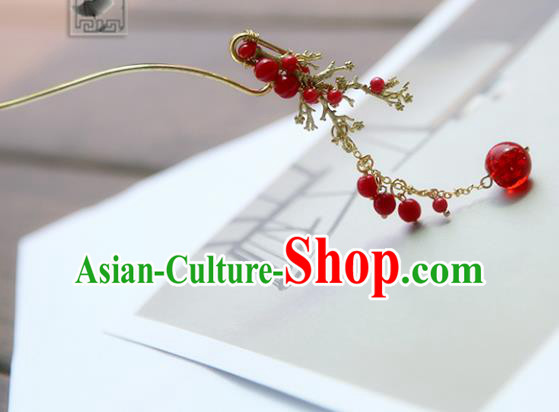 Chinese Ancient Handmade Hanfu Red Beads Tassel Step Shake Hairpins Hair Accessories for Women