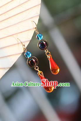 Chinese Handmade Ancient Jewelry Accessories Eardrop Hanfu Red Crystal Earrings for Women