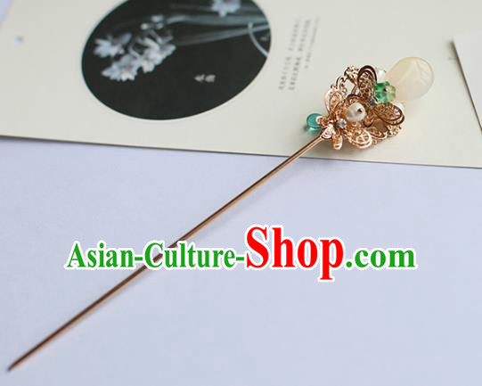 Chinese Ancient Handmade Hanfu Green Bead Hair Clip Hairpins Hair Accessories for Women