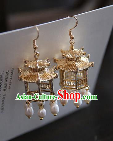 Chinese Handmade Ancient Jewelry Accessories Eardrop Hanfu Pearls Tassel Earrings for Women