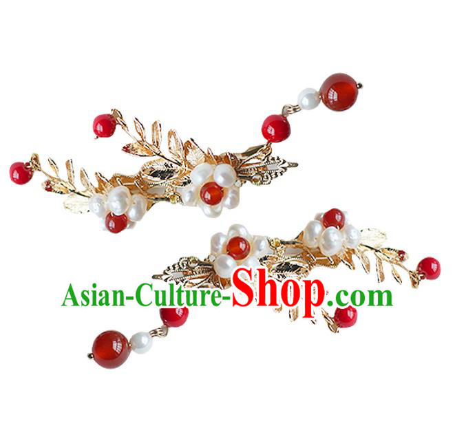 Chinese Ancient Handmade Hanfu Red Bead Hair Sticks Hairpins Hair Accessories for Women