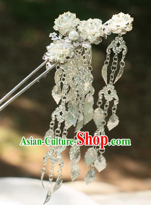 Chinese Ancient Handmade Hanfu Tassel Hairpins Palace Lady Lotus Step Shake Hair Accessories for Women