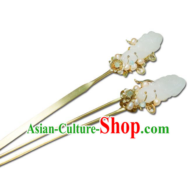Chinese Ancient Handmade Hanfu Jade Hairpins Palace Lady Hair Accessories for Women