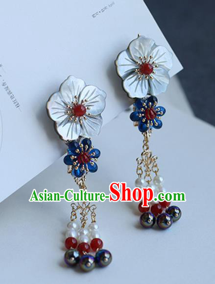 Chinese Ancient Handmade Hanfu Shell Flower Hair Claw Hairpins Palace Lady Hair Accessories for Women