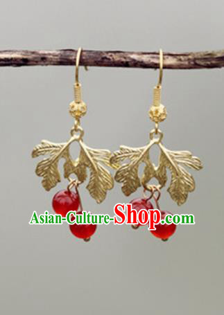 Chinese Handmade Ancient Jewelry Accessories Golden Leaf Eardrop Hanfu Earrings for Women