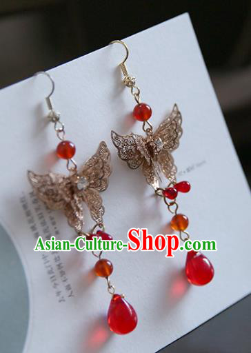 Chinese Handmade Ancient Jewelry Accessories Butterfly Eardrop Hanfu Earrings for Women