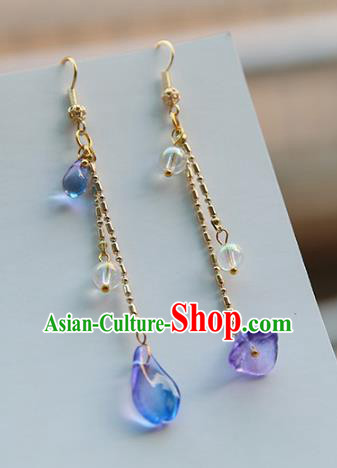 Chinese Handmade Ancient Jewelry Accessories Eardrop Hanfu Long Earrings for Women