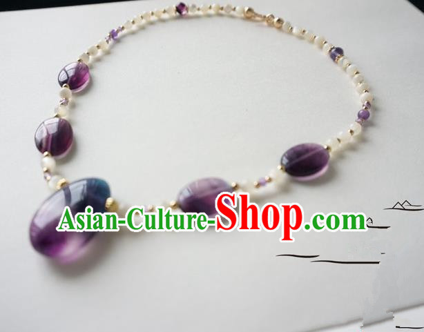 Chinese Handmade Ancient Jewelry Accessories Purple Crystal Necklace Hanfu Necklet for Women