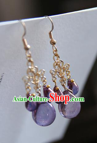 Chinese Handmade Ancient Jewelry Accessories Eardrop Hanfu Purple Crystal Earrings for Women