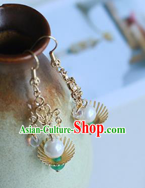 Chinese Handmade Ancient Jewelry Accessories Eardrop Hanfu Pearl Shell Earrings for Women