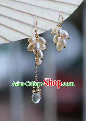 Chinese Handmade Ancient Jewelry Accessories Pearls Eardrop Hanfu Asymmetric Earrings for Women