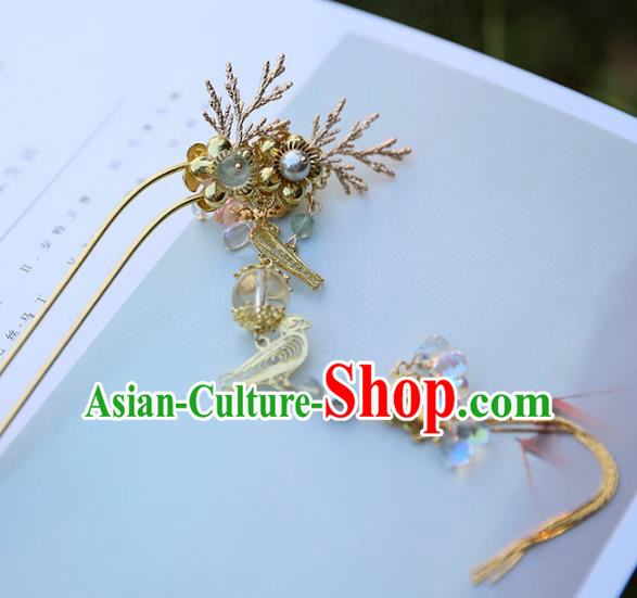 Chinese Ancient Handmade Hanfu Fish Tassel Hairpins Palace Lady Hair Clips Hair Accessories for Women