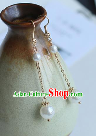 Chinese Handmade Ancient Jewelry Accessories Golden Eardrop Hanfu Pearls Earrings for Women