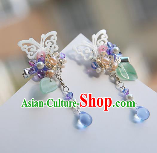 Chinese Ancient Handmade Butterfly Hair Claws Hanfu Hairpins Palace Lady Tassel Hair Accessories for Women