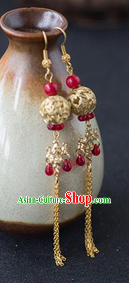 Chinese Handmade Ancient Jewelry Accessories Golden Eardrop Hanfu Earrings for Women