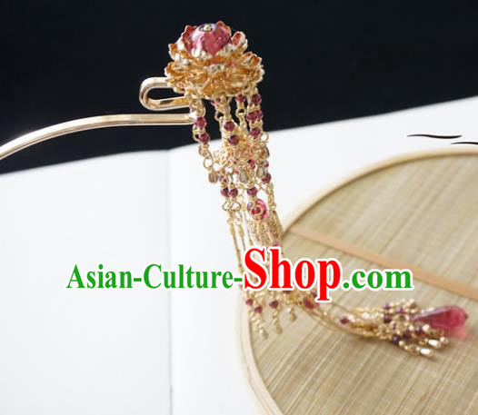 Chinese Ancient Handmade Lotus Tassel Step Shake Hanfu Hairpins Hair Accessories for Women