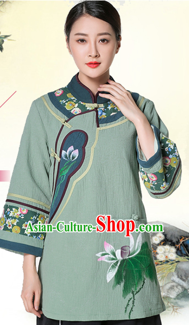 Hands Painted Top Traditional Chinese Tai Chi Kongfu Taiji Long Blouse Clothing