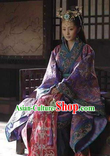 Chinese Ancient Han Dynasty Palace Princess Hanfu Dress Replica Costume for Women