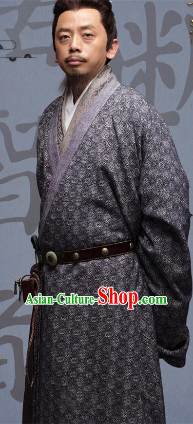 Chinese Ancient Three Kingdoms Period Military Counsellor Xu You Historical Costume for Men