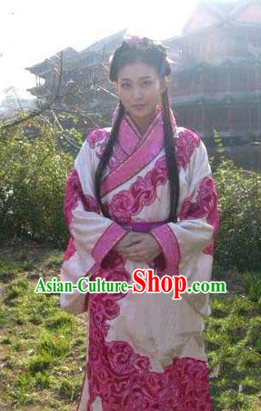 Chinese Ancient Han Dynasty Palace Lady Wang Zhaojun Hanfu Dress Replica Costume for Women