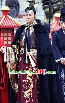 Chinese Ancient Han Dynasty Emperor Liu Fuling Historical Costume for Men