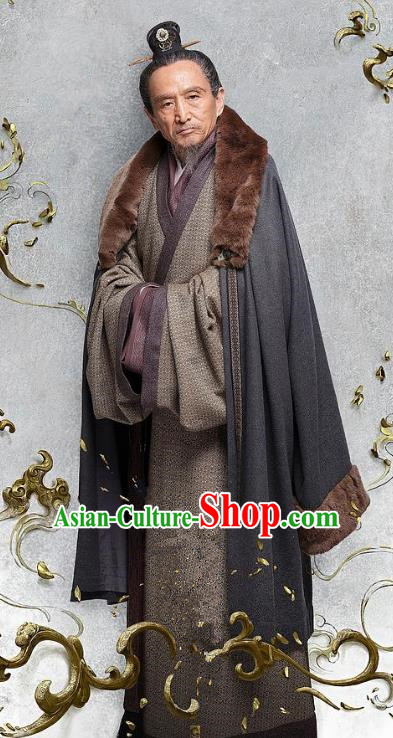 Chinese Ancient Three Kingdoms Period Military Strategist Jia Xu Historical Costume for Men