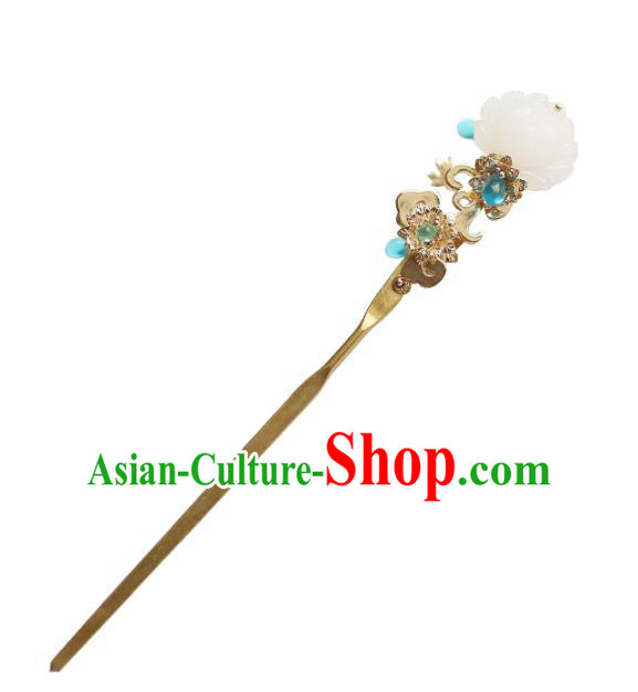 Chinese Ancient Handmade Hanfu Hairpins Palace Lady White Lotus Hair Clip Hair Accessories for Women