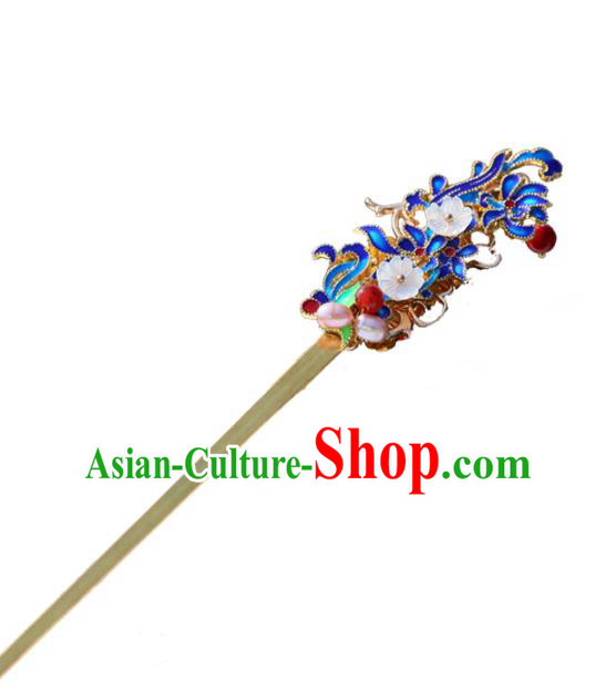 Chinese Ancient Handmade Hanfu Hairpins Palace Lady Blueing Hair Clip Hair Accessories for Women