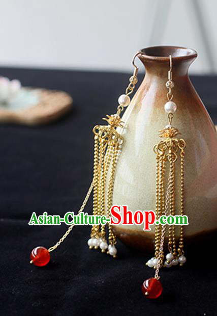Chinese Handmade Ancient Jewelry Accessories Golden Eardrop Hanfu Long Tassel Earrings for Women
