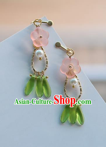 Chinese Handmade Ancient Jewelry Accessories Pink Flower Eardrop Hanfu Earrings for Women