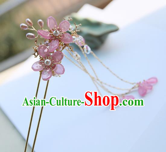Chinese Ancient Hanfu Handmade Pink Flowers Hairpins Step Shake Hair Accessories for Women