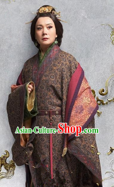 Chinese Eastern Han Dynasty Empress Dowager Hanfu Dress Ancient Queen Mother Replica Costume for Women