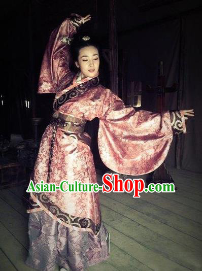 Chinese Ancient Han Dynasty Imperial Concubine Ji Hanfu Dress Embroidered Replica Costume for Women