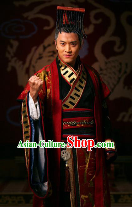 Chinese Spring and Autumn Period Wei State Emperor Ancient Monarch Embroidered Historical Costume and Headpiece Complete Set